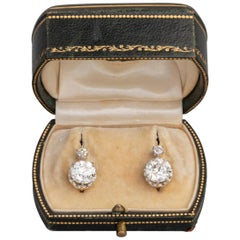 4.5 Carat Antique Belle Epoque French Diamonds Earrings
