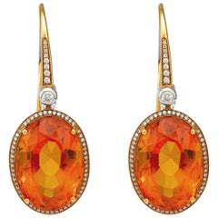 Giulians Art Deco Inspired Oval Cut Citrine and Diamond Drop Earrings