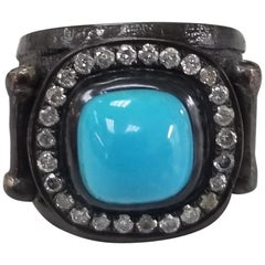 Turquoise and Diamond Silver Ring
