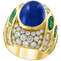 18 Carat Blue Sapphire Cabochon and Diamond 18 Karat Gold Ring
