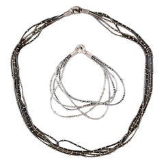 Swedish Modernist Necklace and Bracelet in Sterling Silver, 1970