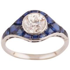 Platinum Sapphire and Diamonds French Art Deco Ring