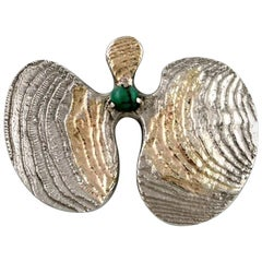 Swedish Modernist Brooch in Silver with Green Agate, Partially Gilded, 1968