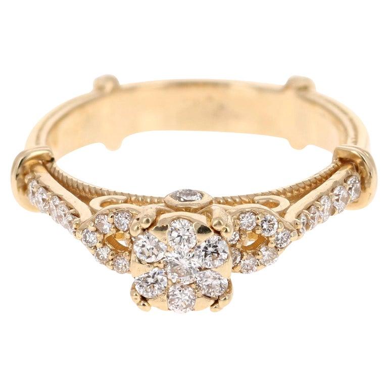 0.50 Carat Diamond 14 Karat Yellow Gold Ring For Sale