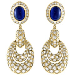 15 Carat Blue Sapphire and Diamond Hanging or Cocktail Earring 18 Karat Gold