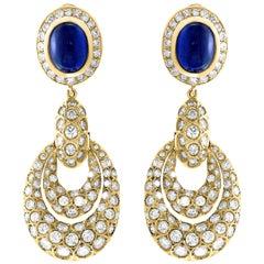 15 Carat Blue Sapphire and Diamond Hanging /Cocktail/Drop Earring 18 Karat Gold