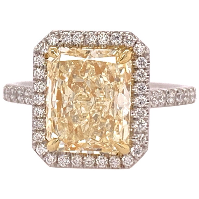 Platinum Cocktail Ring Radiant Cut 3.42 Carat GIA Natural Light Yellow YZ For Sale