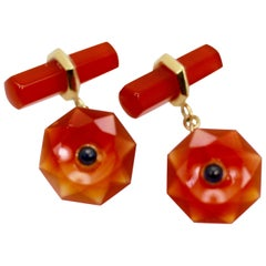 Carnelian Carved Cufflinks Sapphire Center 18 Karat