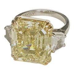 Natural Fancy Yellow Diamond Ring 16.57 Carat Internally Flawless