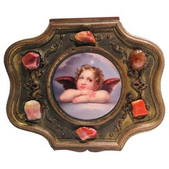 Antique French Metal Jewelry Box with Hand Painted Porcelain Cherub Plaque