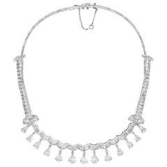 13 Solitaire Pear Shape  35 Carat Diamond Tear Drop Riviere Necklace Platinum