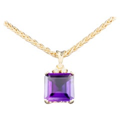 Amethyst and Diamond 14 Karat Gold Pendant Wheat Chain Necklace