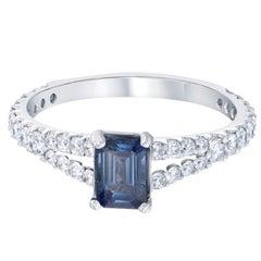 1.35 Carat Sapphire Diamond 14 Karat White Gold Ring