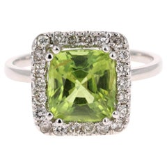 3.52 Carat Peridot Diamond 14 Karat White Gold Ring