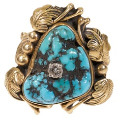 Turquoise and Diamond 14 Karat Gold Ring