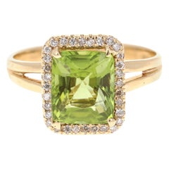 3.18 Carat Peridot Diamond 14 Karat Yellow Gold Ring