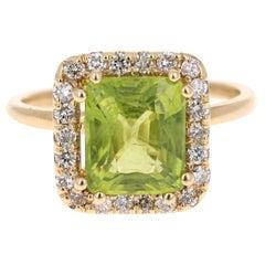 3.67 Carat Peridot Diamond 14 Karat Yellow Gold Ring