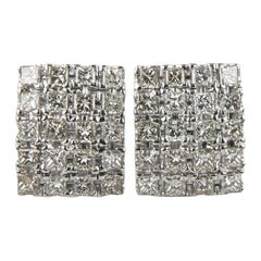 4.00 Carat Princess Cut Diamond 14 Karat White Gold Plaque Earrings