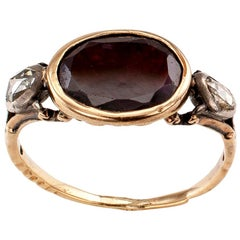 Georgian Garnet Rose Cut Diamond Three-Stone Gold Silver Ring