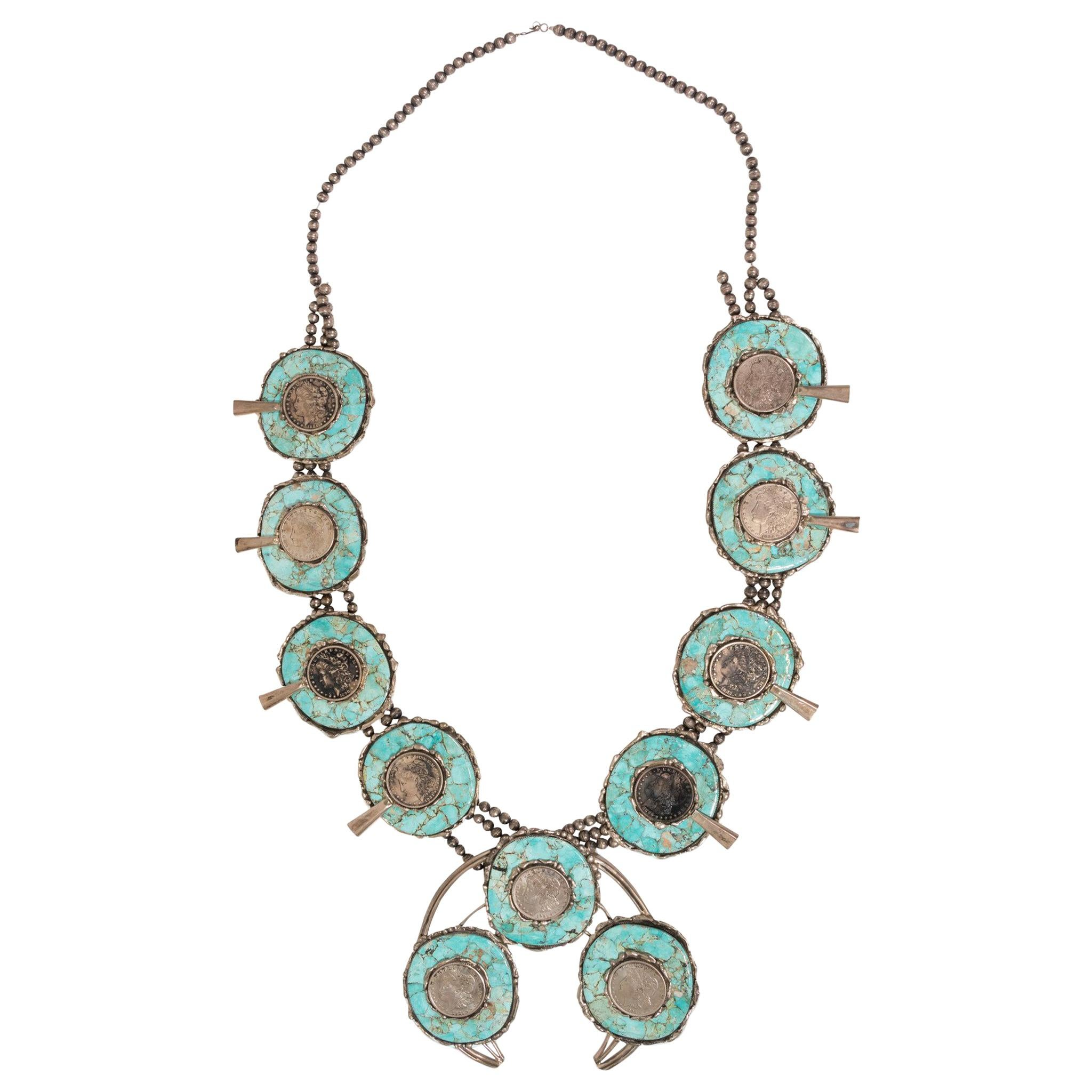 Silver Dollar Coin and Turquoise Squash Blossom Necklace