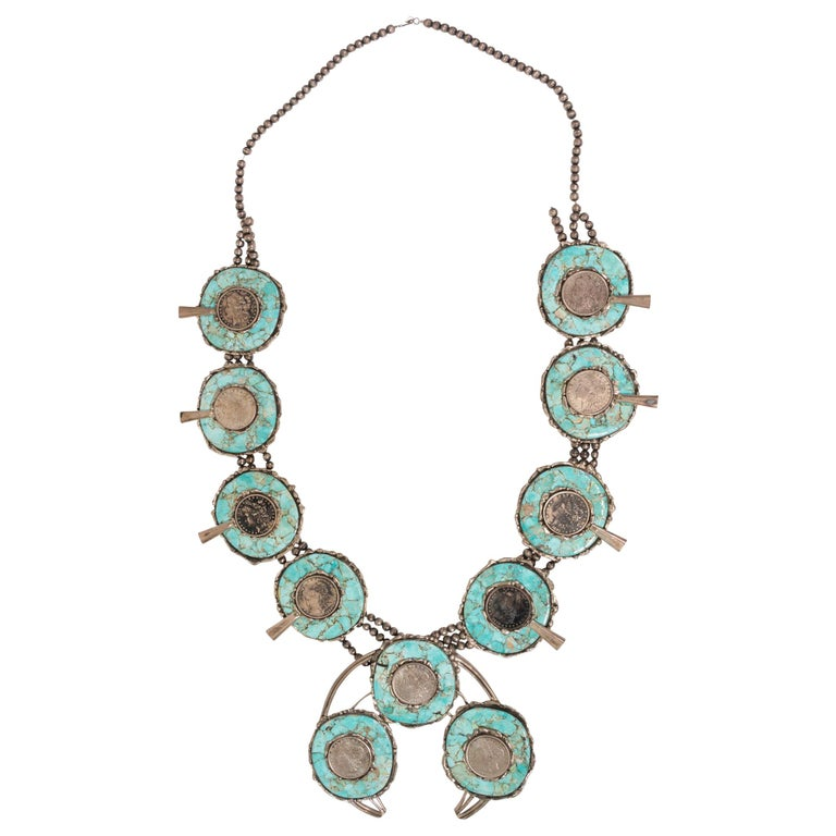 Silver Dollar Coin and Turquoise Squash Blossom Necklace For Sale