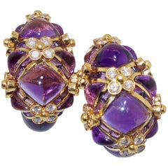 Amethyst and Diamond and 18 Karat Gold Earrings