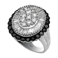Oval Shape Diamond Ring with Round & Baguette White Black Diamonds 14 Karat Gold
