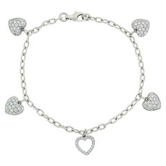 Tiffany & Co. Diamond Platinum Charm Bracelet with Heart Charms