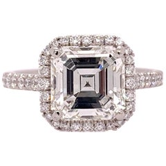 Platinum Square Emerald Cut Natural 2.57 Carat GIA I VS2 Diamond Ring