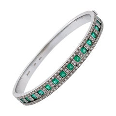 Damiani Damianissima 18 Karat Gold Pave Diamond and Emerald Bracelet Bangle