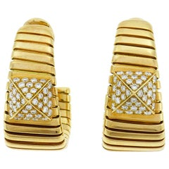 Bulgari Diamond Yellow Gold Tubogas Hoop Earrings Bvlgari, 1980s