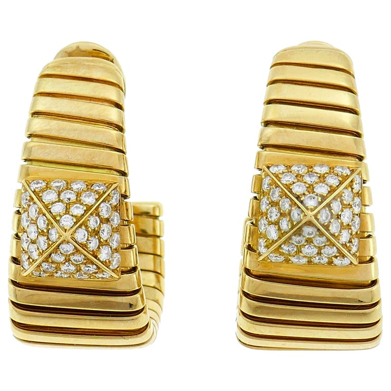 Bulgari Diamond Yellow Gold Tubogas Hoop Earrings Bvlgari, 1980s
