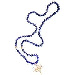 Clarissa Bronfman Lapis, 14k gold, Diamond, Enamel Tree of Life Beaded Necklace