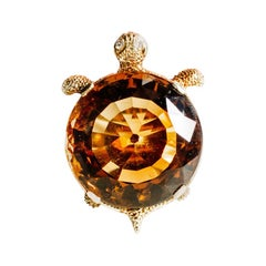 Clarissa Bronfman Signature Citrine, 18 Karat Gold, Diamond Turtle Ring