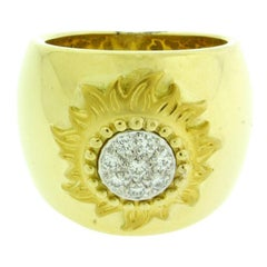 "Carrera y Carrera ""Sol Y Sombra"" Diamond Sun Ring in 18 Karat Yellow Gold"