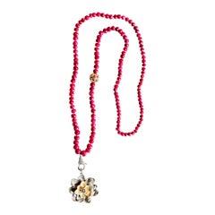 Clarissa Bronfman Raw Ruby, Diamond Two-Tone Flower Pendant Beaded Necklace