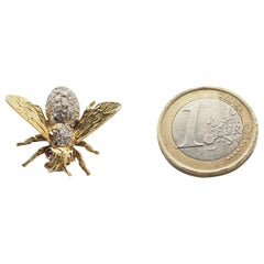 Diamond Ruby 18 Karat Gold Bee Brooches