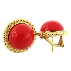 Coral Round Button Chain Yellow Gold Cruise Pierced Omega Clip Earrings