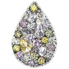 Joke Quick Fancy Pink Green Blue Diamond 18 Karat White Gold Pendant