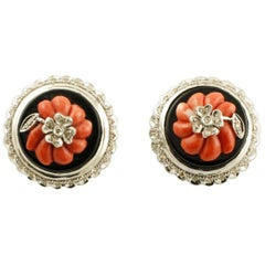 Coral Onyx Plates White Little Diamonds White Gold Earrings