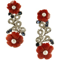 Diamonds Blue Sapphires Coral Flowers Little Pearls White Gold Earrings