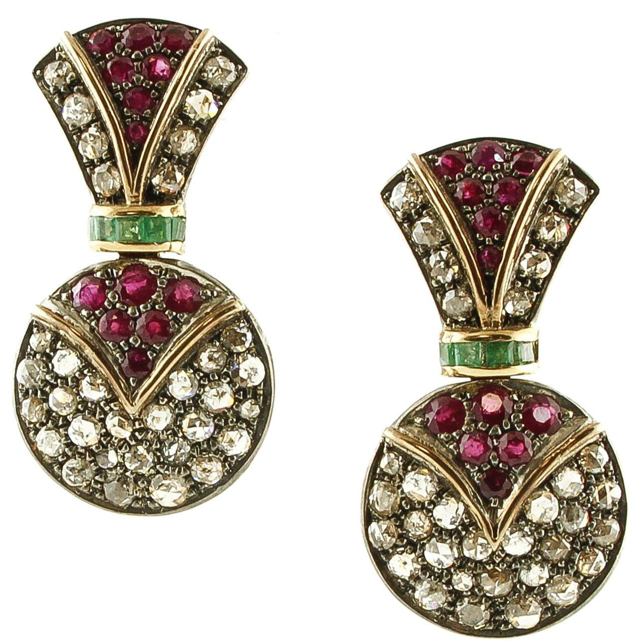 Diamonds Rubies Emeralds Rose Gold and Silver Fashion Earrings