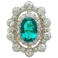 Antique 3.12 Carat Emerald and 3.15 Carat Diamond Yellow Gold Cocktail Ring