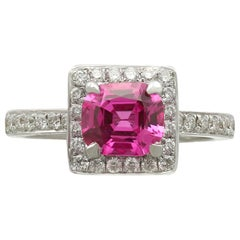 Vintage 1.27 Carat Pink Sapphire and Diamond White Gold Cocktail Ring Circa 1990