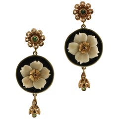 Diamonds Rubies Emeralds Coral Flowers Onyx Plates Rose Gold and Silver Earrings