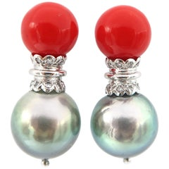 Coral and Tahitian Pearl Cone Sconce Diamond Pierced Pin Gold Earrings