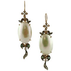Little Diamonds Emeralds Pearls Rose Gold and Silver Retrò Drop Earrings