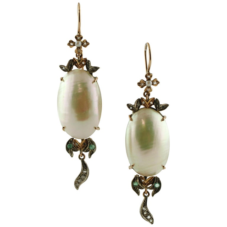 a31d6ea8ad6 Little Diamonds Emeralds Pearls Rose Gold and Silver Retrò Drop Earrings