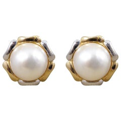 South Sea Pearl Omega Clip Earrings with 14 Karat White and Yellow Gold Surround
