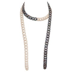 Yoko London Black and White Freshwater Pearl Tie Necklace